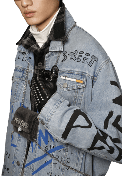 Blue Fall 2019 Denim Jacket-Peace Bird