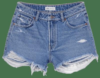 Blue Frayed Mid-Rise Denim Shorts