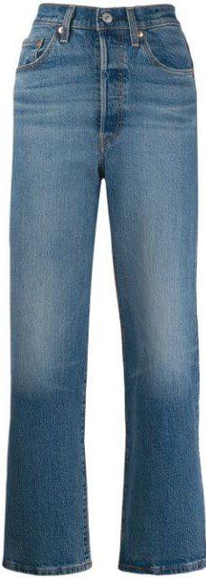 Blue High-Rise Straight-Leg Jeans