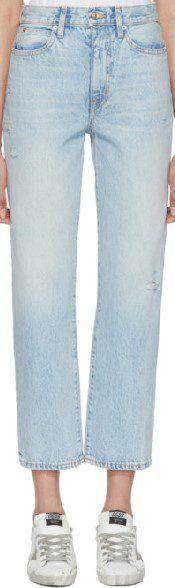 Blue London Crop High-Rise Straight-Leg Jeans-Slvrlake