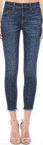 Blue Mid Rise Frayed Hem Crop Skinny Jeans-Beautiful Soul Boutique