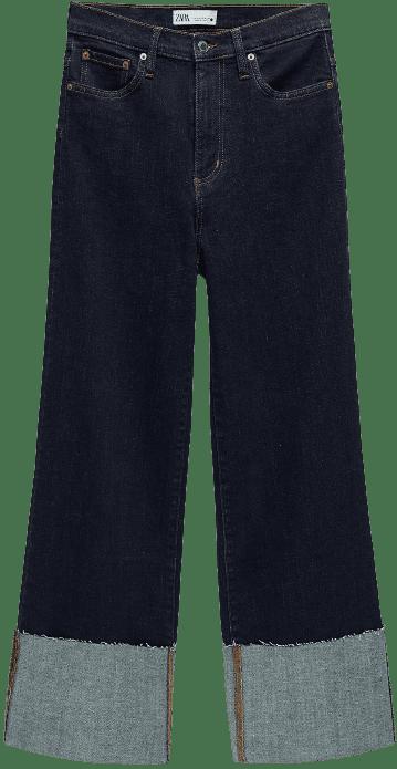 Blue ZW Premium Folded Up Wide Leg Jeans-Zara