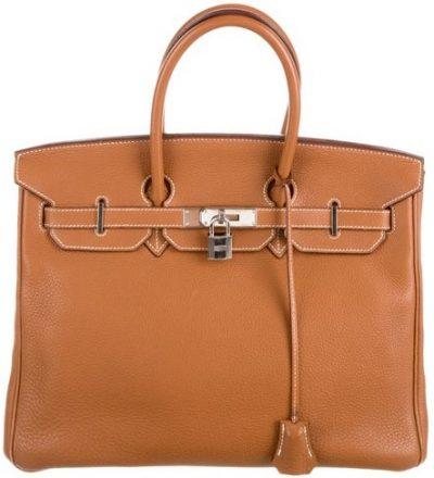 Brown Clemence Birkin 35 Handbag-Hermès