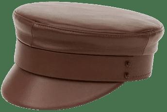 Brown Leather Baker Boy Cap