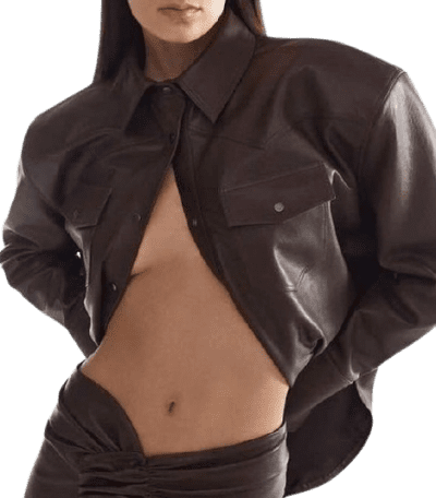 Brown Leather Shirt-The Mannei