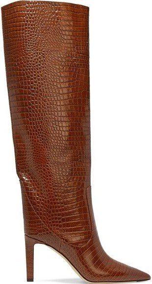 Brown Mavis 85 Croc-Effect Leather Knee Boots-Jimmy Choo