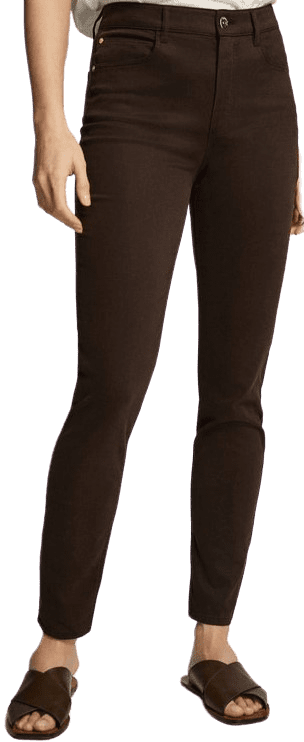 Brown Skinny Trousers-Massimo Dutti