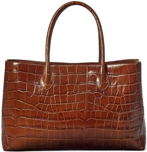 Brown Soft Croc London Tote-Aspinal of London