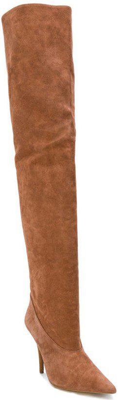 Brown Tubular Thigh High Boots