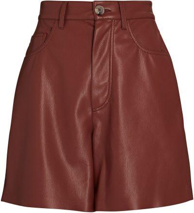 Burgundy High-Rise Vegan Leather Shorts-Nanushka