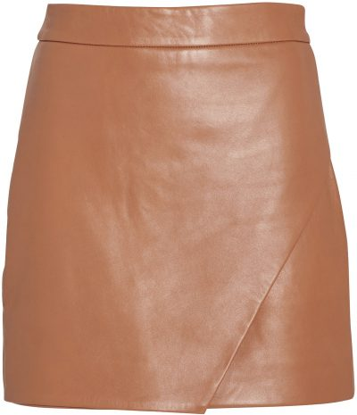 Camel Leather Wrap Mini Skirt-Michelle Mason