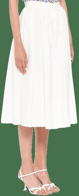 Chalk White Piqué Skirt-Miu Miu