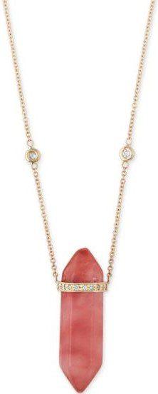 Cherry Quartz Double Point Crystal Necklace-Jacquie Aiche
