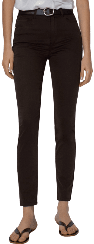 Chocolate Skinny Fit High-Rise Trousers