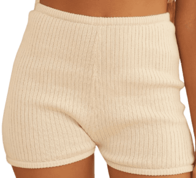 Cream Organic Knit Ribbed Short-Savannah Morrow