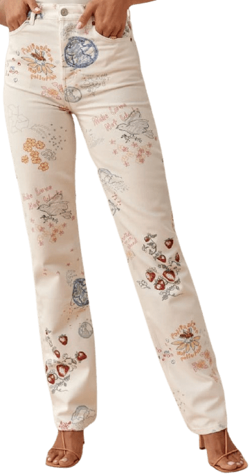 Cynthia Doodle High Rise Straight Long Jeans-Reformation
