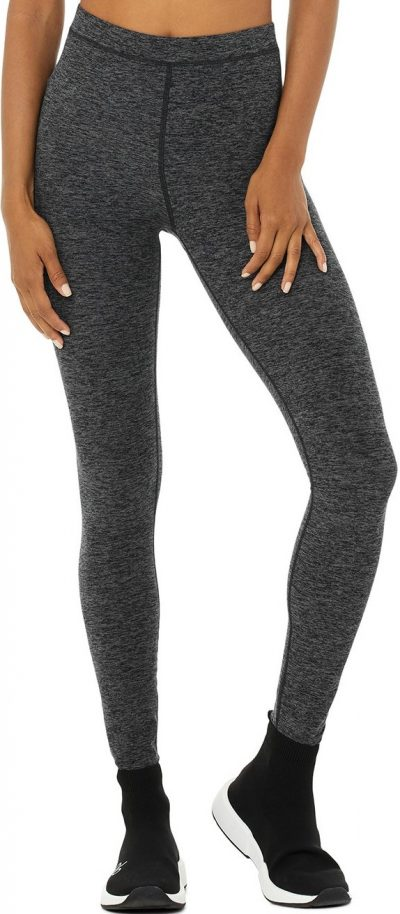 Dark Heather Grey High-Waist Alosoft Flow Legging-Alo Yoga