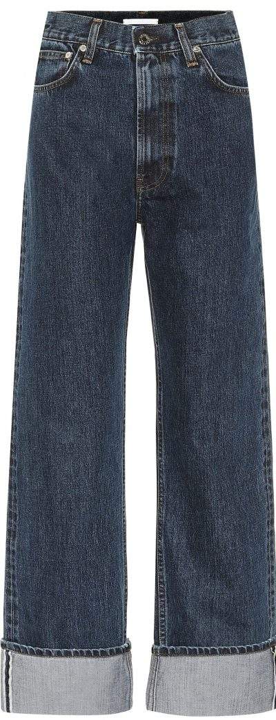 Dark Indigo Cuffed High-Rise Straight Jeans