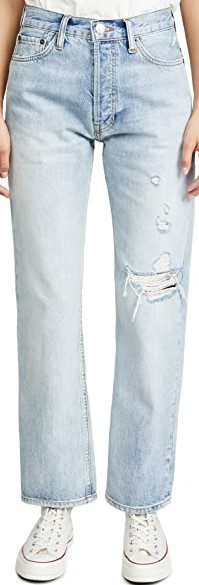 Destroyed Light 90s Loose Straight Jeans-Redone