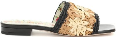 Floral Raffia And Leather Sandals-Gucci