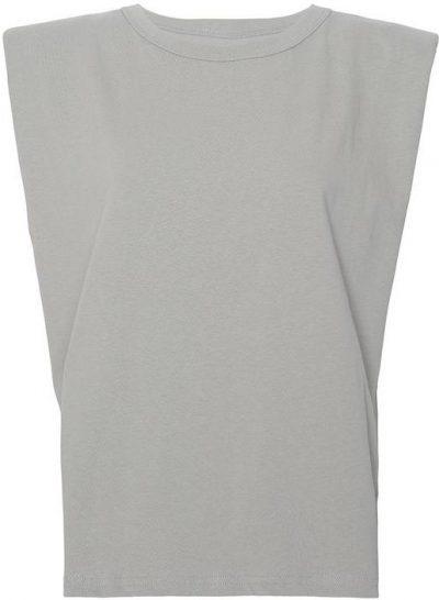 Grey Eva Padded Shoulder Muscle T-Shirt