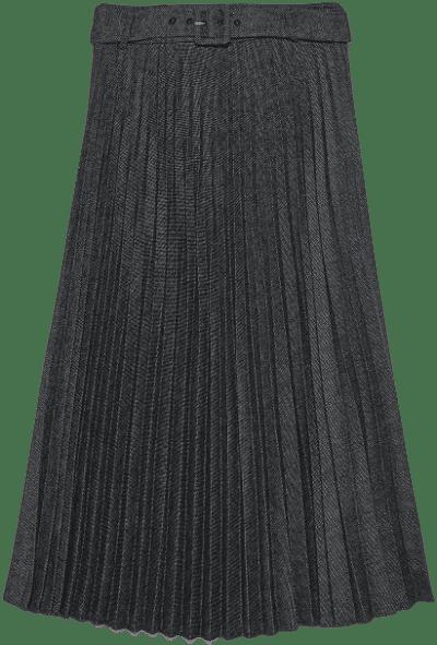 Grey Pleated Midi Skirt-Zara