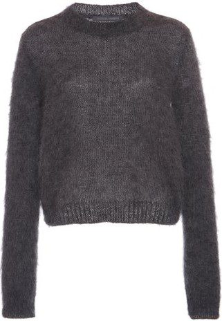 Grey Ribbed-Trim Mohair Sweater-Alberta Ferretti