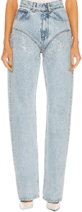 Ice Blue Crystal Rhinestone Straight Jeans