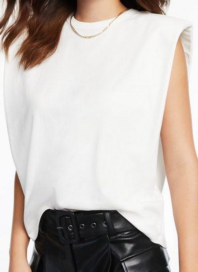 Ivory Cotton Cap-Sleeve Knit Top-Culpos X INC