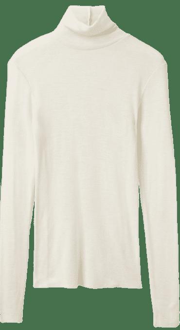 Ivory Fine Roll-Neck Wool Top