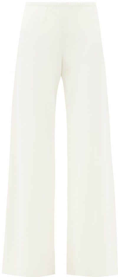 Ivory Gala High-Rise Cady Wide-Leg Trousers