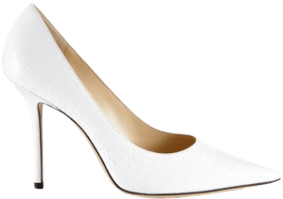 Latte Croc Embossed Leather Point-Toe Pumps