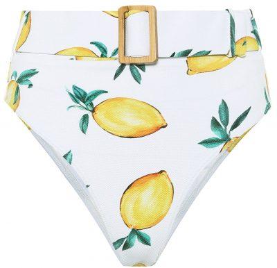 Lemon Print Clara High-Rise Bikini Bottom