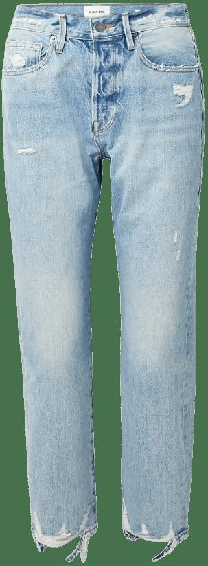 Light Blue Le Original Distressed High-Rise Straight-Leg Jeans-Frame