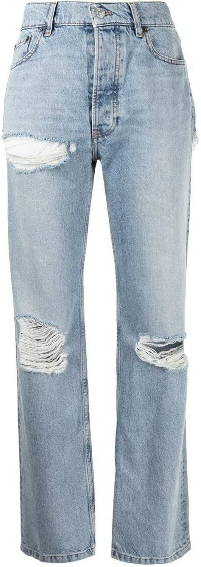 Light Blue Ripped Straight-Leg Jeans-Balenciaga