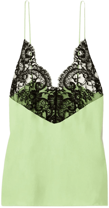 Light Green Theophilia Lace-Trimmed Camisole-Gauchere