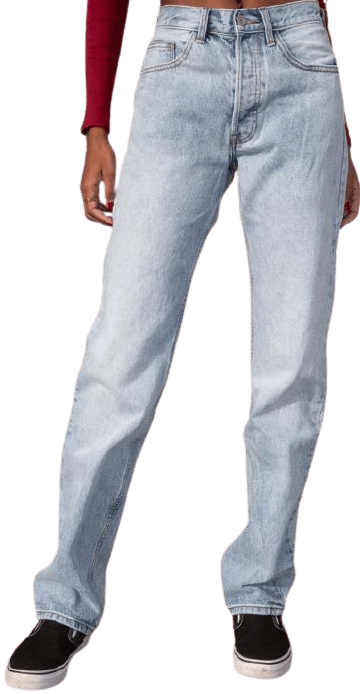 Light Wash Mid Rise Straight Let Jeans