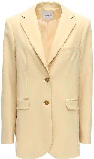Light Yellow Cool Wool Single Breasted Jacket-Lesyanebo