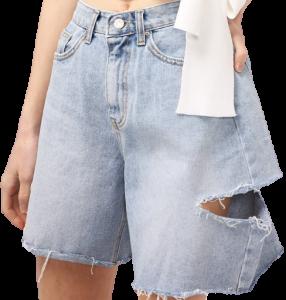 Medium Wash Maria Ripped Slash Denim Shorts