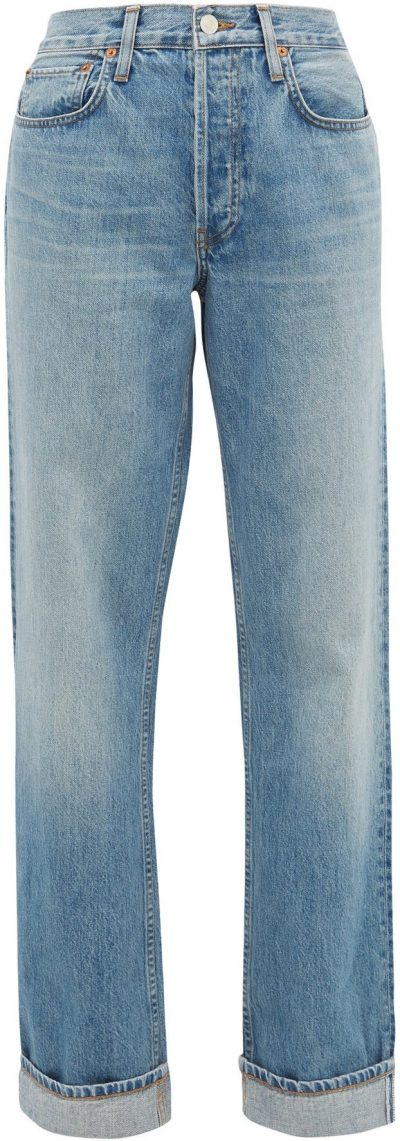 Mid Blue 90S Loose-Fit Straight-Leg Jeans-Redone