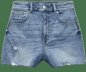 Mid-Blue Seamless Denim Shorts-Zara