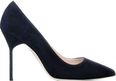 Navy Suede Pointed Toe Pumps