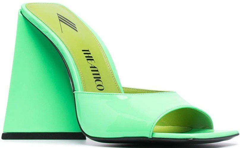 Neon Green Devon Patent Leather Mules-The Attico