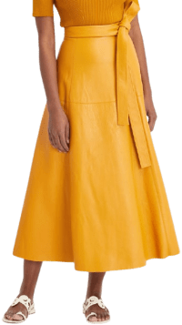 Orange Belted Leather Midi Skirt-Oscar De La Renta