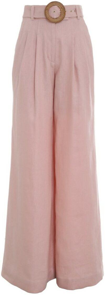 Pink Postcard Pleated Linen Wide-Leg Pants-Zimmermann