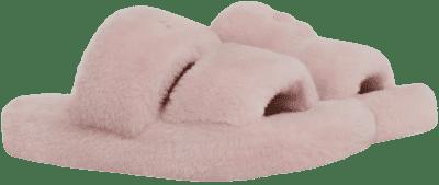 Pink Triomphe Shearling Slides-Celine