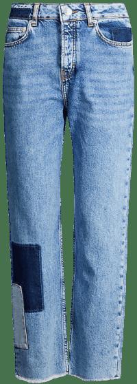 Piros Patchwork Straight-Leg Jeans-Maje