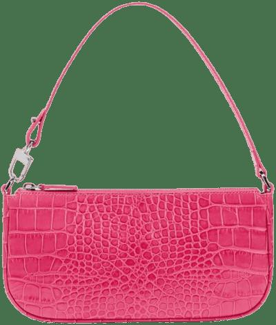 Rachel Hot Pink Croco Embossed Leather Bag-By Far