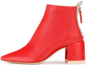 Red Ankle Boot With Half-Moon Heel-AGL