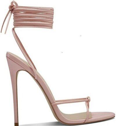 Rose Athens Lace Up Sandals-Femme Shoes